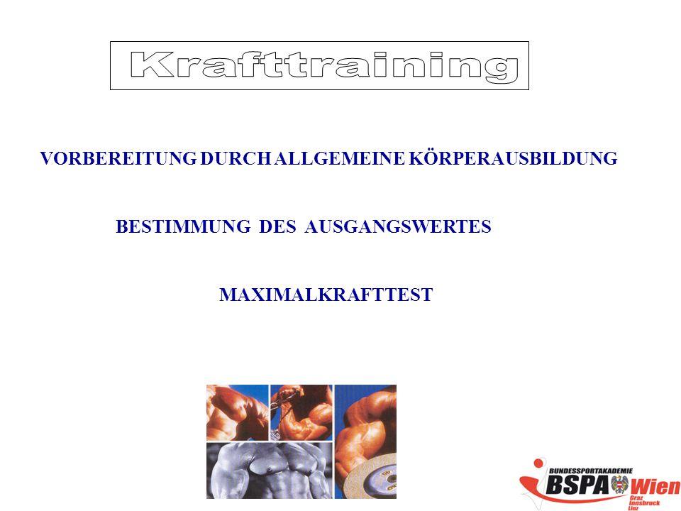Krafttraining VORBEREITUNG DURCH ALLGEMEINE KÖRPERAUSBILDUNG
