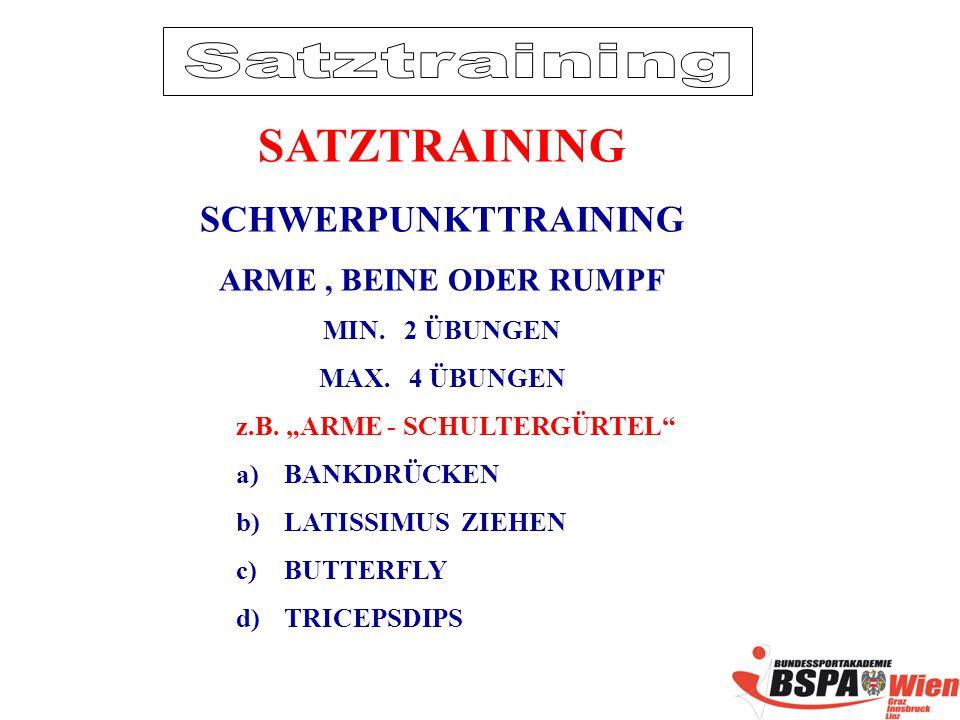 SATZTRAINING SCHWERPUNKTTRAINING Satztraining ARME , BEINE ODER RUMPF