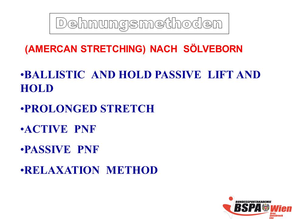 BALLISTIC AND HOLD PASSIVE LIFT AND HOLD PROLONGED STRETCH ACTIVE PNF