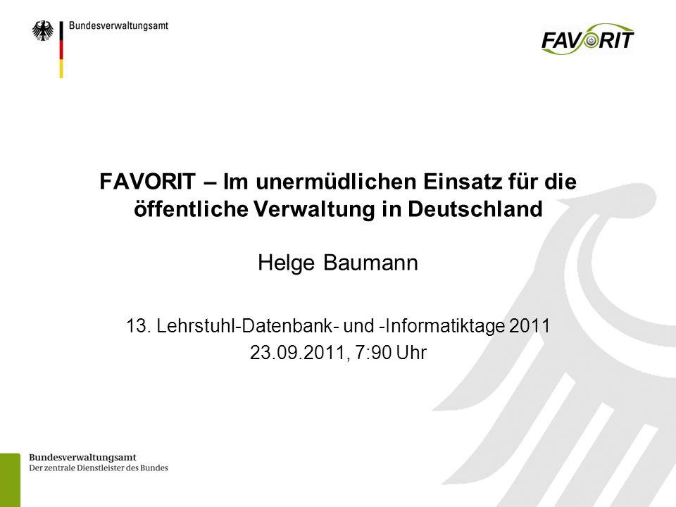 13. Lehrstuhl-Datenbank- und -Informatiktage 2011 23.09.2011, 7:90 Uhr
