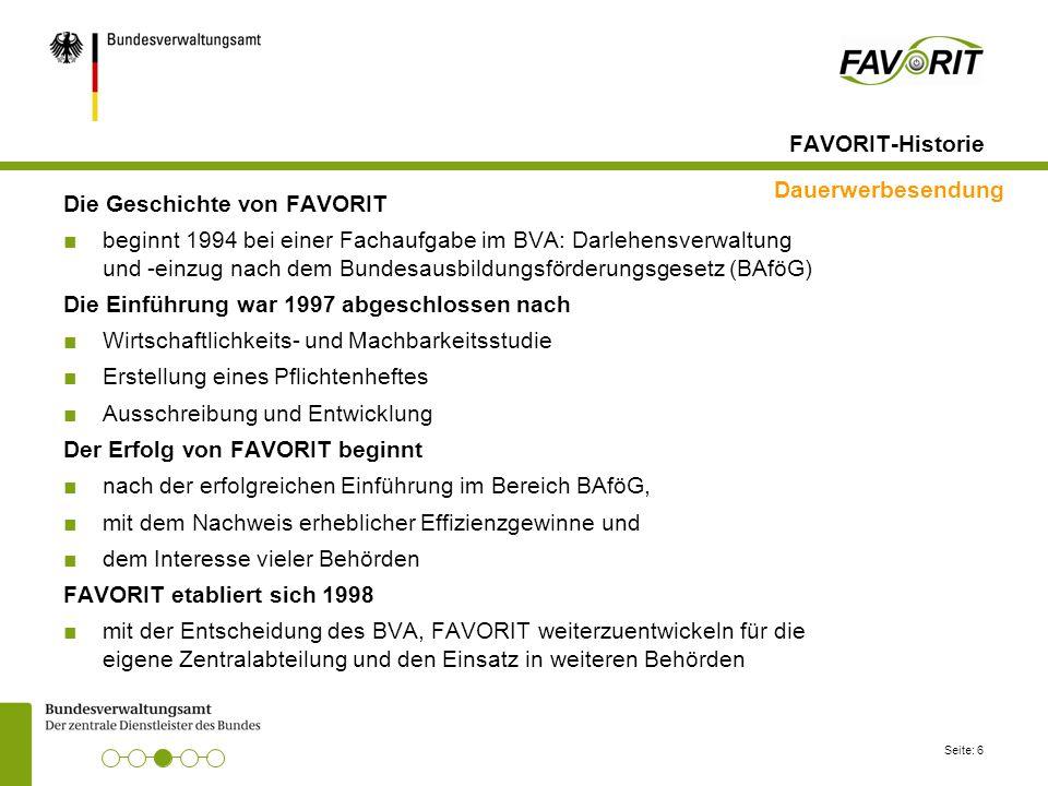FAVORIT-Historie Dauerwerbesendung. Die Geschichte von FAVORIT.