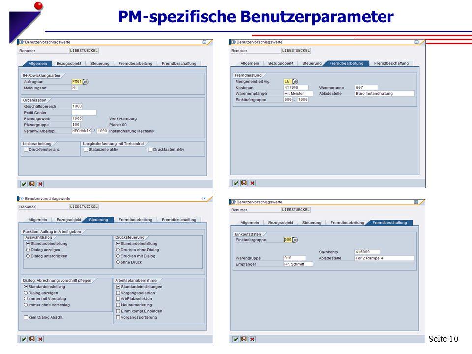 PM-spezifische Benutzerparameter