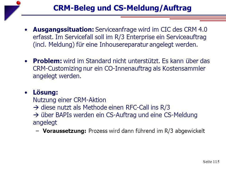 CRM-Beleg und CS-Meldung/Auftrag