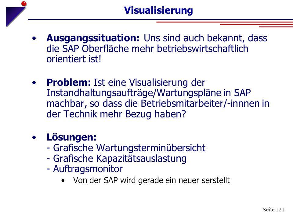 Visualisierung Ausgangssituation: Uns sind auch bekannt, dass die SAP Oberfläche mehr betriebswirtschaftlich orientiert ist!