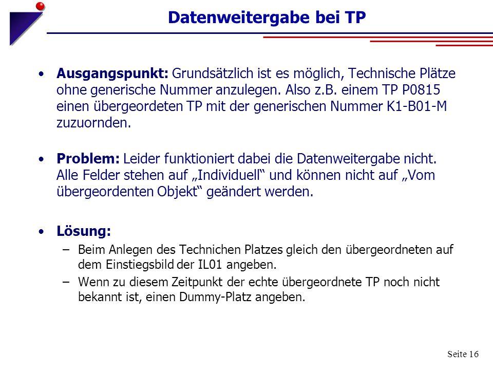 Datenweitergabe bei TP