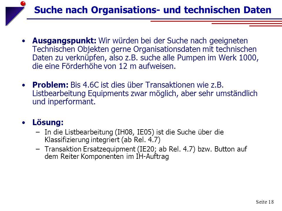 Suche nach Organisations- und technischen Daten