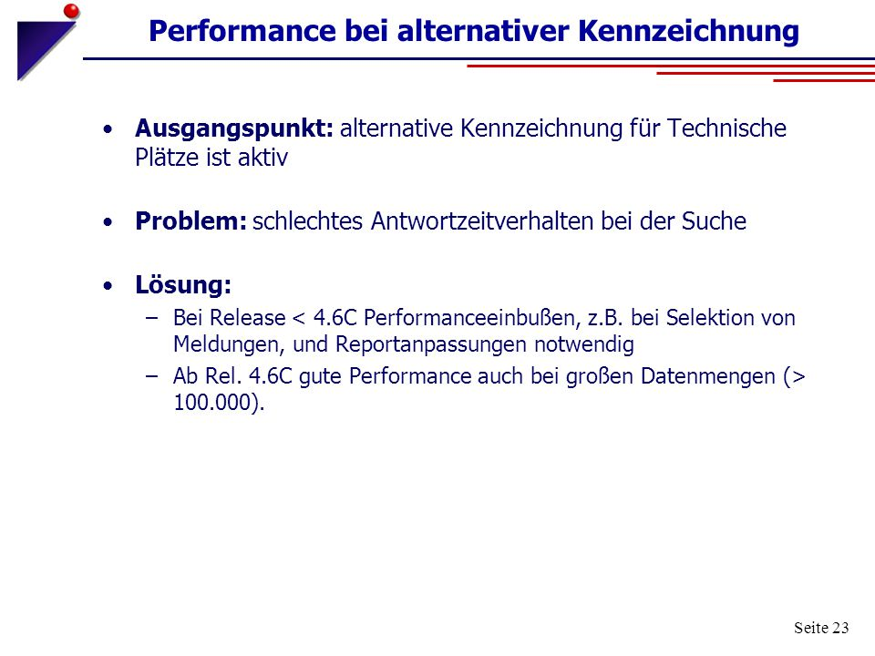 Performance bei alternativer Kennzeichnung
