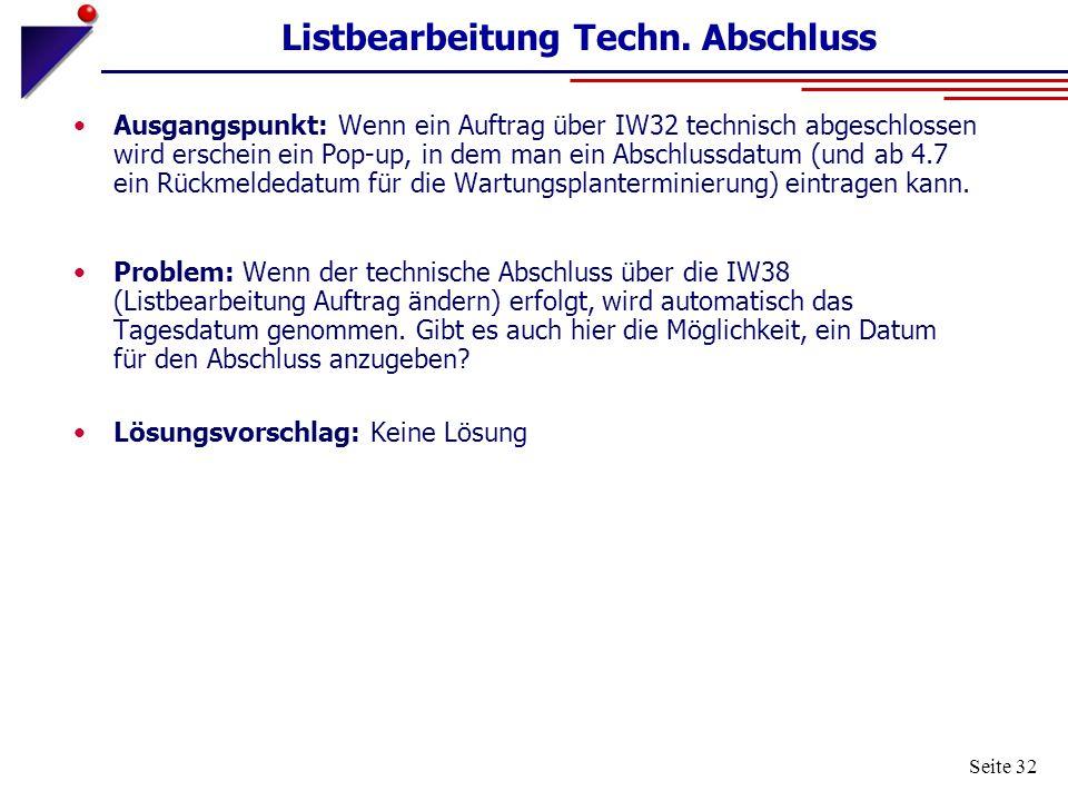 Listbearbeitung Techn. Abschluss