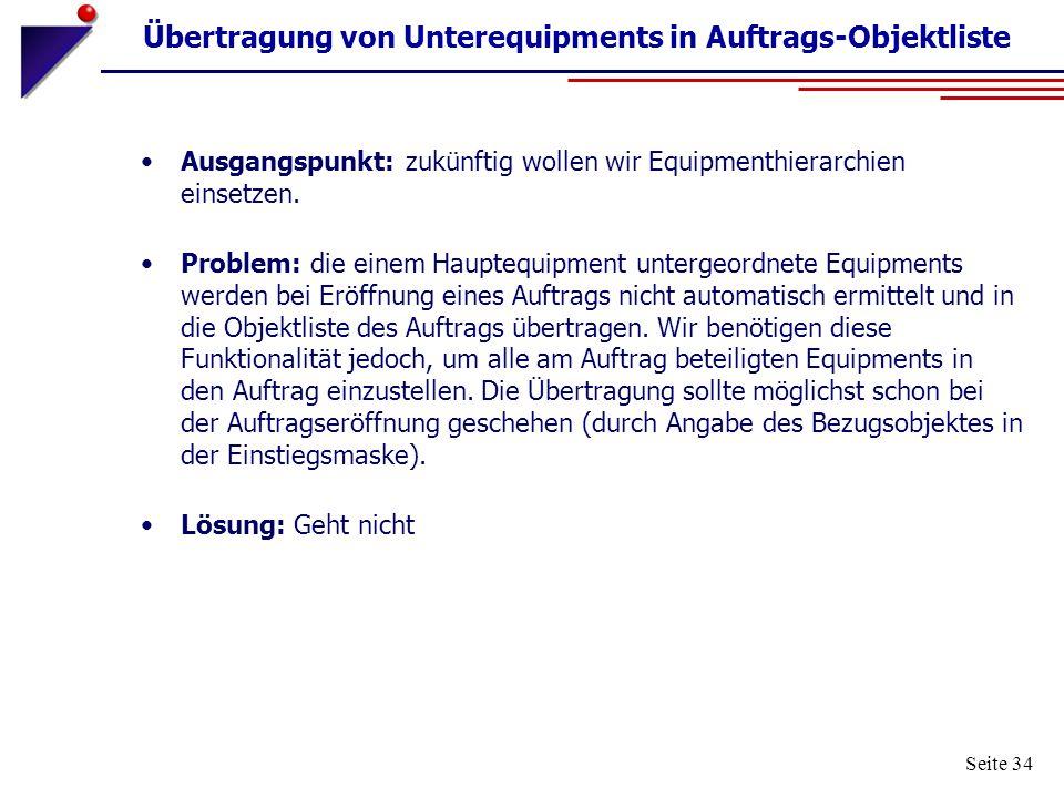 Übertragung von Unterequipments in Auftrags-Objektliste
