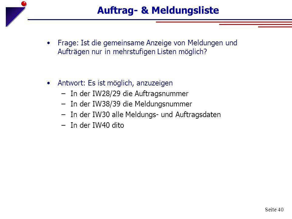 Auftrag- & Meldungsliste