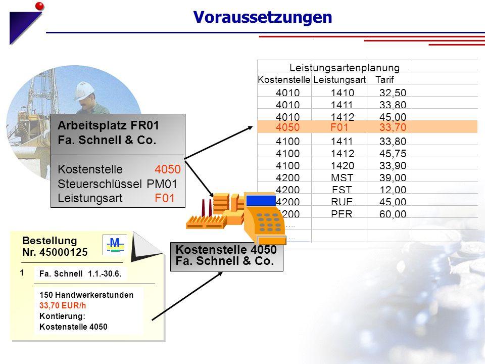 Voraussetzungen Arbeitsplatz FR01 Fa. Schnell & Co. Kostenstelle 4050