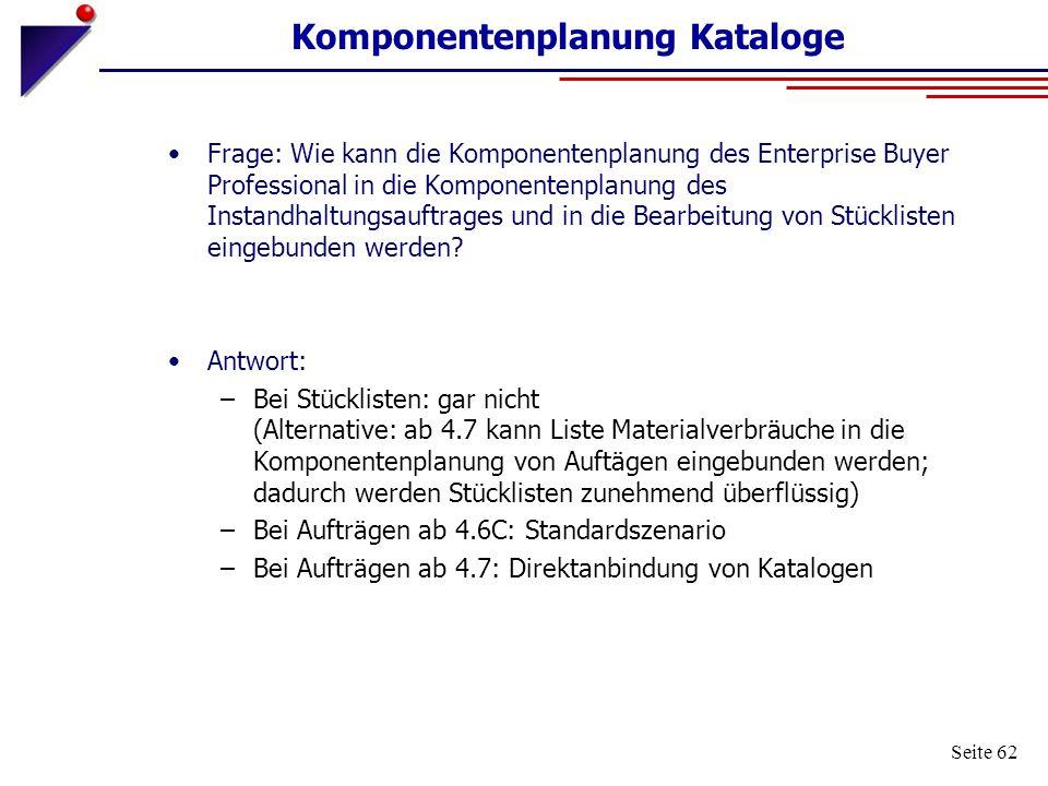 Komponentenplanung Kataloge