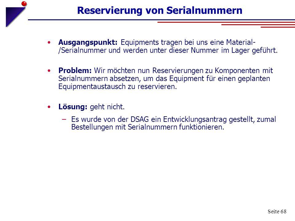 Reservierung von Serialnummern