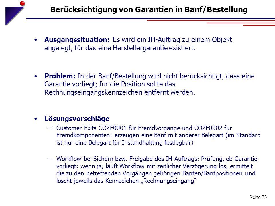 Berücksichtigung von Garantien in Banf/Bestellung