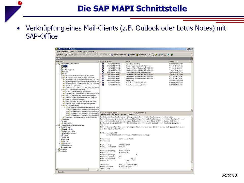 Die SAP MAPI Schnittstelle