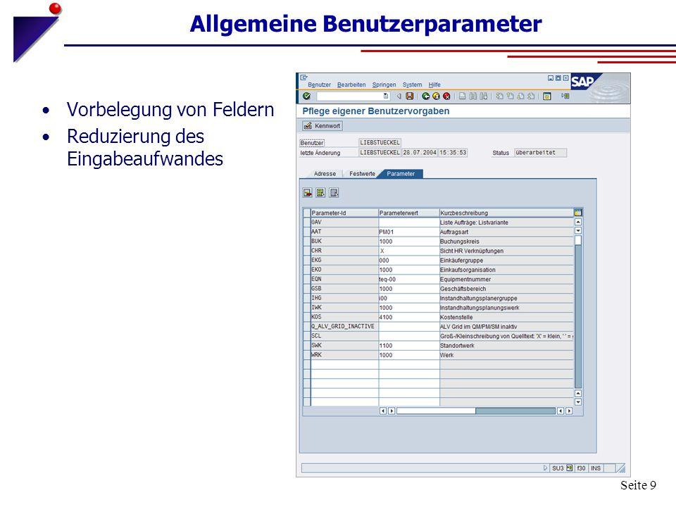 Allgemeine Benutzerparameter