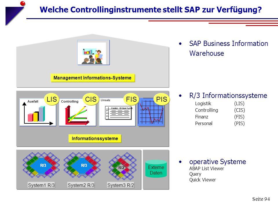 Welche Controllinginstrumente stellt SAP zur Verfügung