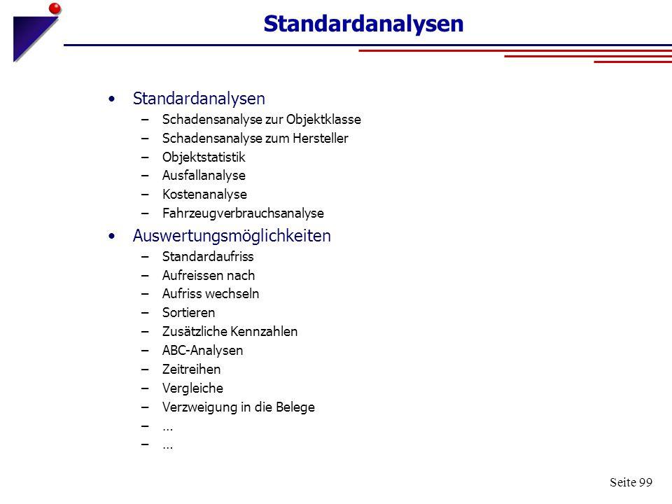 Standardanalysen Standardanalysen Auswertungsmöglichkeiten