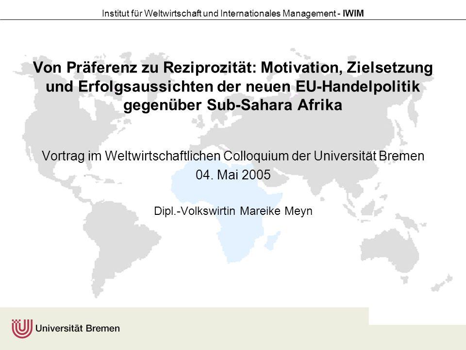 Von Präferenz zu Reziprozität: Motivation, Zielsetzung und Erfolgsaussichten der neuen EU-Handelpolitik gegenüber Sub-Sahara Afrika