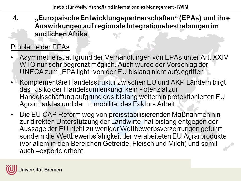 """""""Europäische Entwicklungspartnerschaften (EPAs) und ihre Auswirkungen auf regionale Integrationsbestrebungen im südlichen Afrika"""