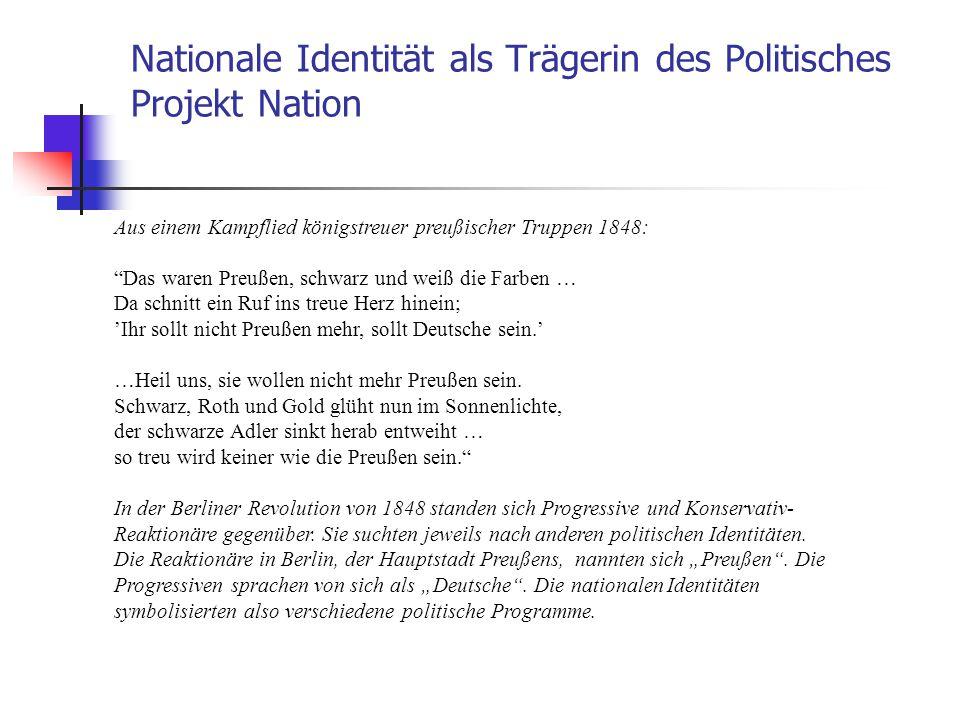 Nationale Identität als Trägerin des Politisches Projekt Nation