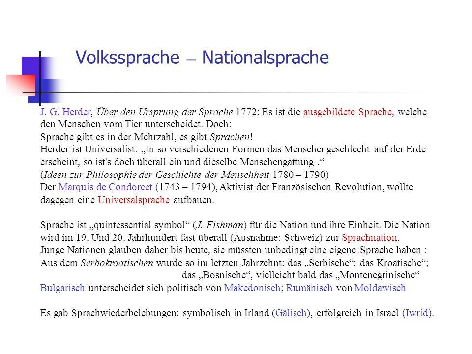 Volkssprache – Nationalsprache