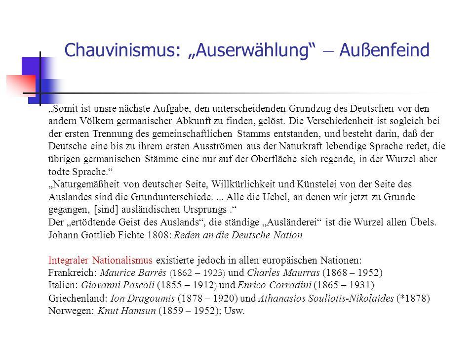 """Chauvinismus: """"Auserwählung – Außenfeind"""