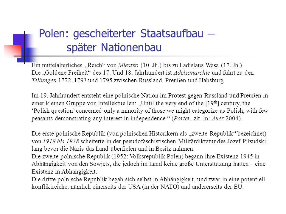 Polen: gescheiterter Staatsaufbau – später Nationenbau