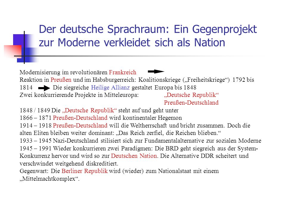 Der deutsche Sprachraum: Ein Gegenprojekt zur Moderne verkleidet sich als Nation