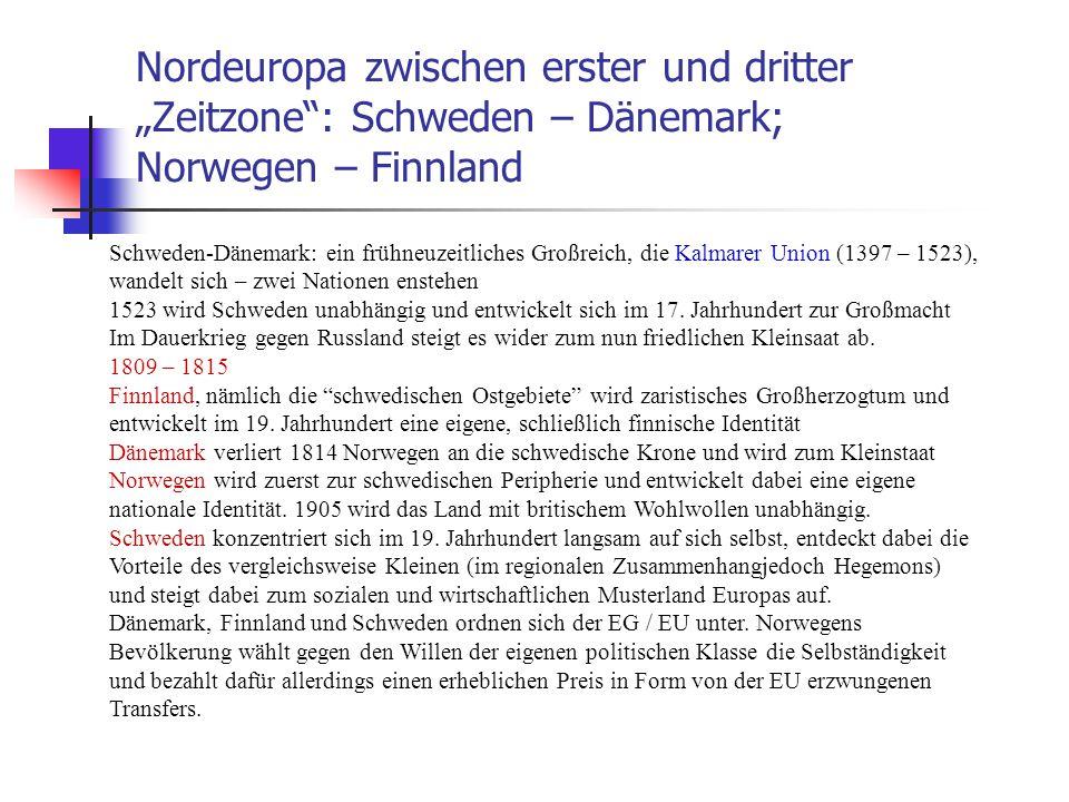 """Nordeuropa zwischen erster und dritter """"Zeitzone : Schweden – Dänemark; Norwegen – Finnland"""