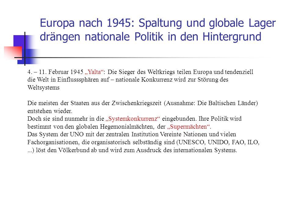 Europa nach 1945: Spaltung und globale Lager drängen nationale Politik in den Hintergrund