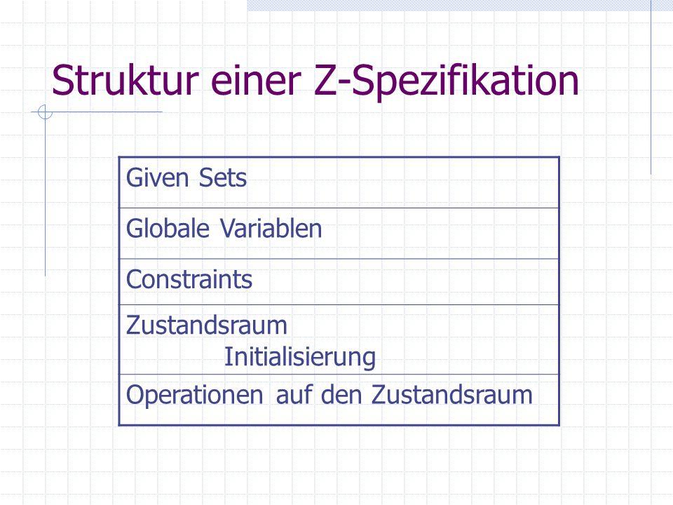 Struktur einer Z-Spezifikation