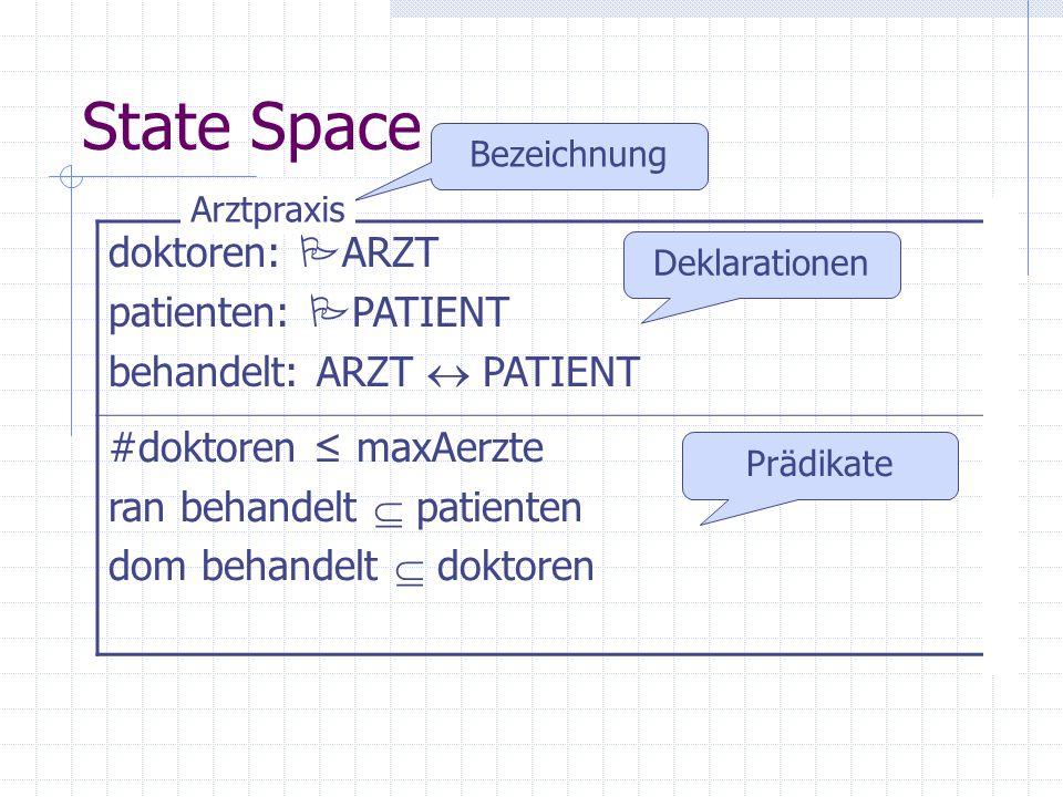 State Space doktoren: ARZT patienten: PATIENT