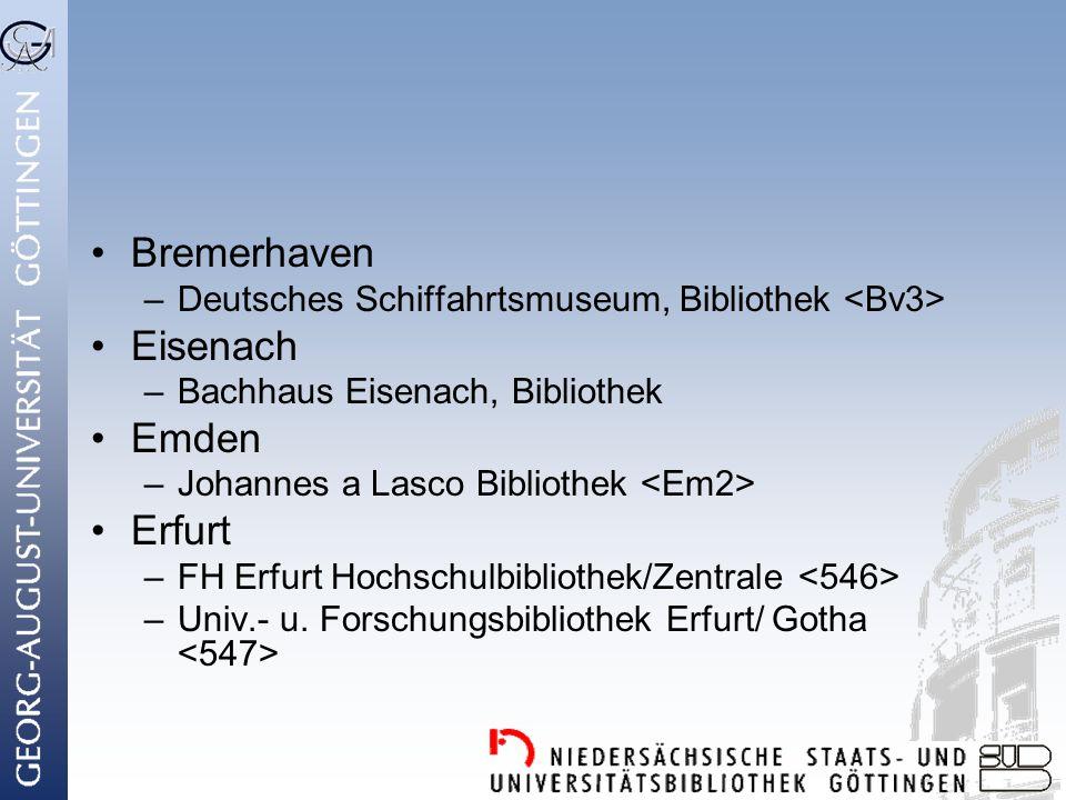 Bremerhaven Eisenach Emden Erfurt
