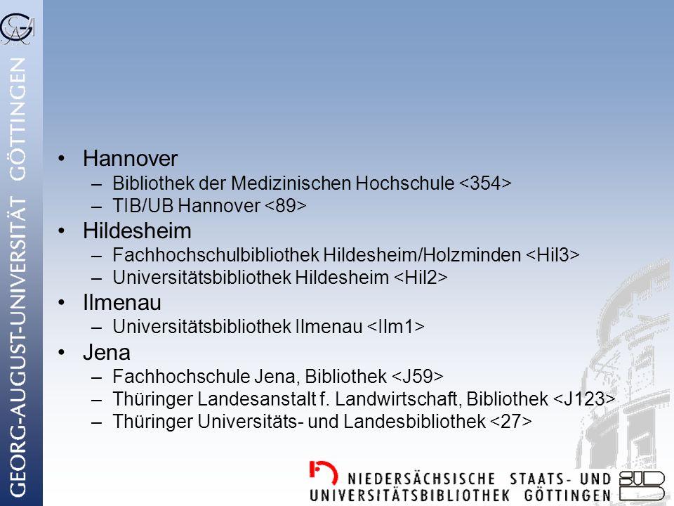 Hannover Hildesheim Ilmenau Jena