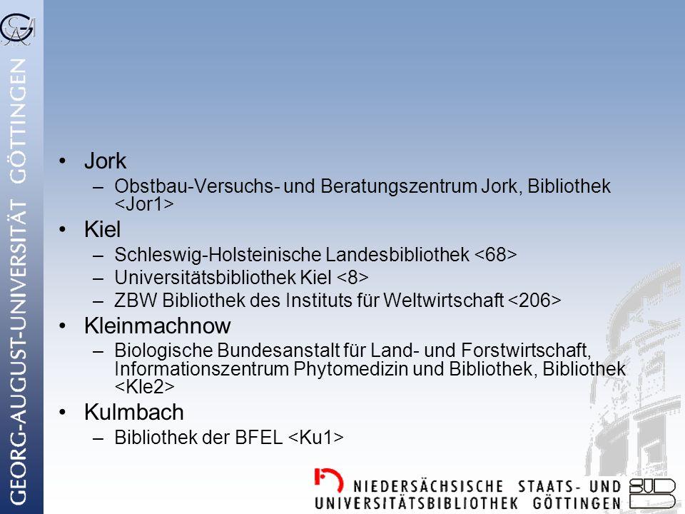 Jork Kiel Kleinmachnow Kulmbach