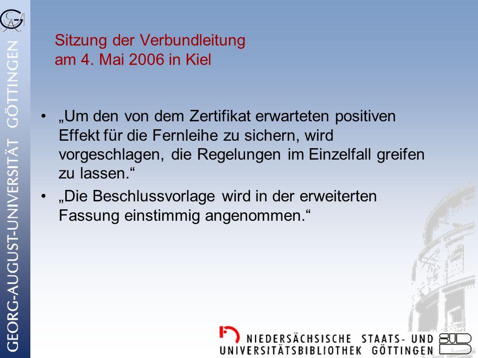 Sitzung der Verbundleitung am 4. Mai 2006 in Kiel
