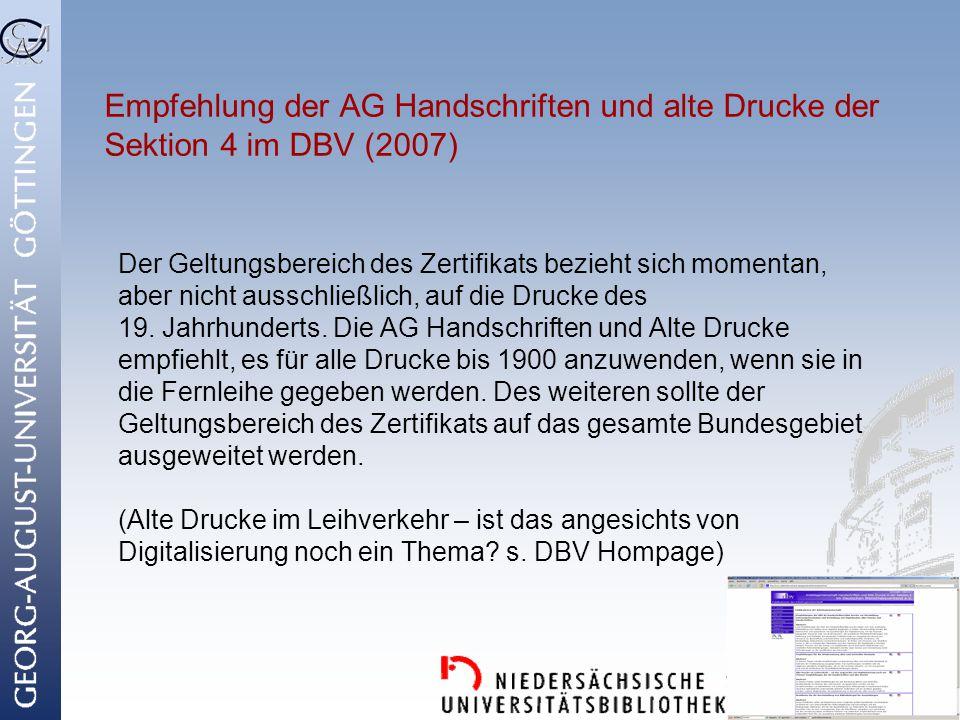 Empfehlung der AG Handschriften und alte Drucke der Sektion 4 im DBV (2007)