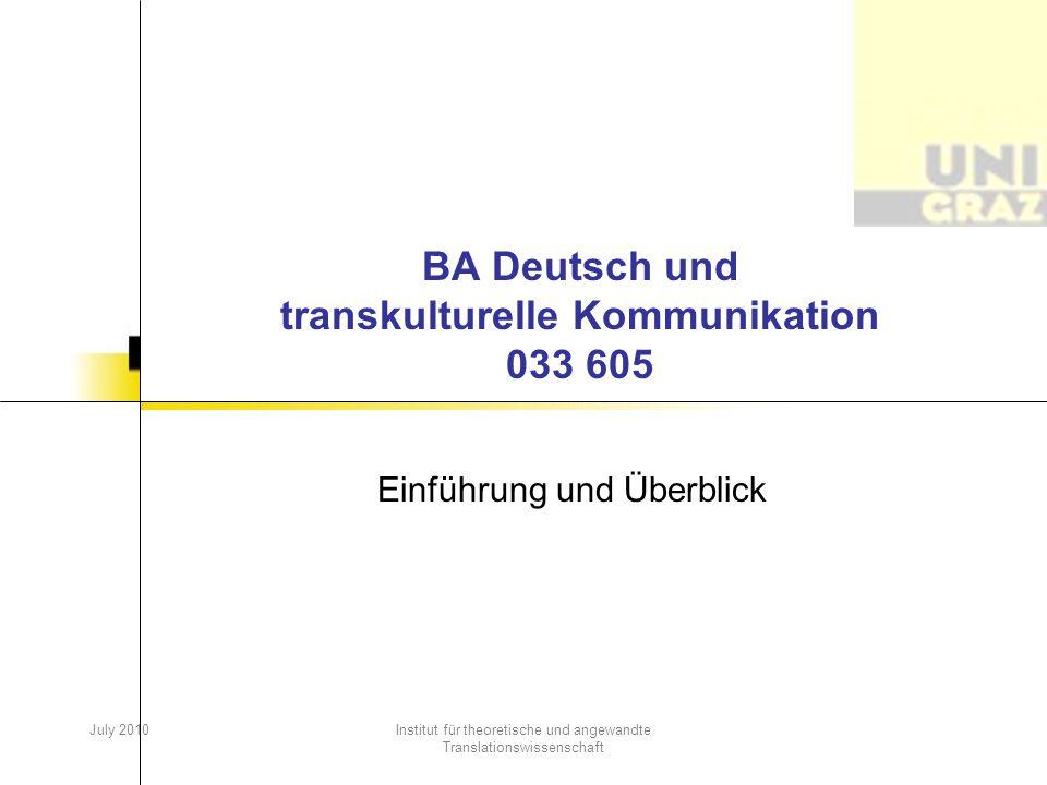 BA Deutsch und transkulturelle Kommunikation 033 605