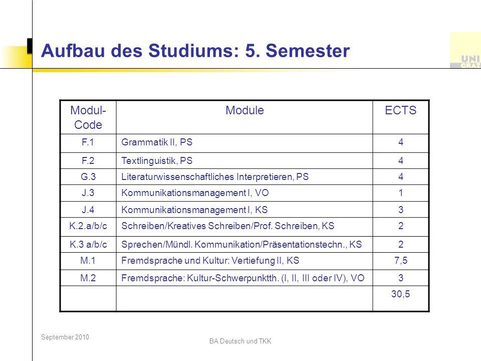Aufbau des Studiums: 5. Semester