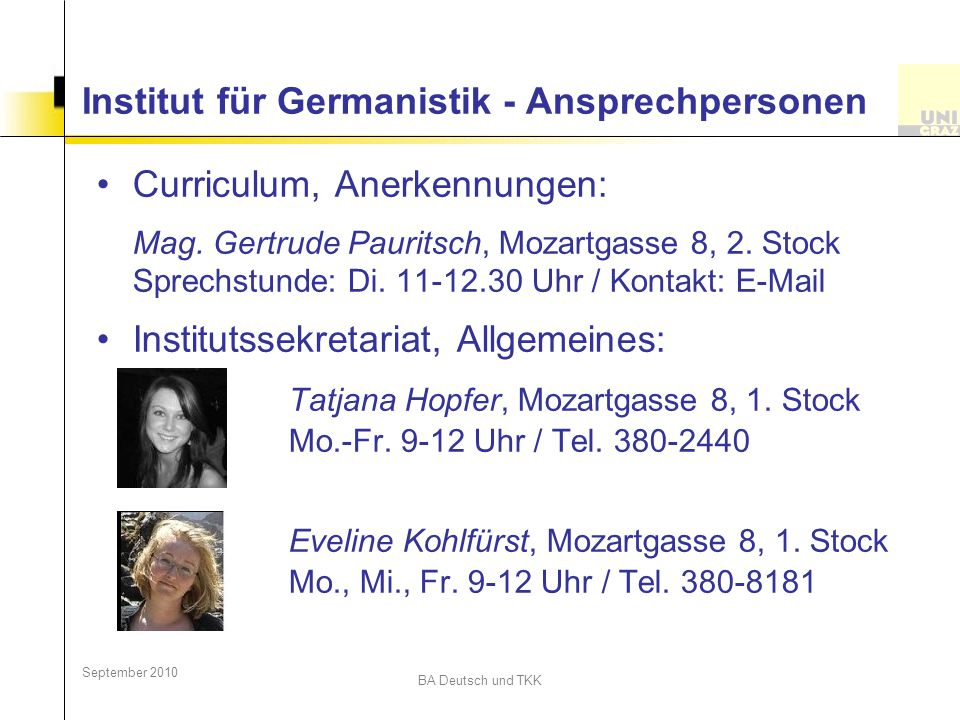 Institut für Germanistik - Ansprechpersonen