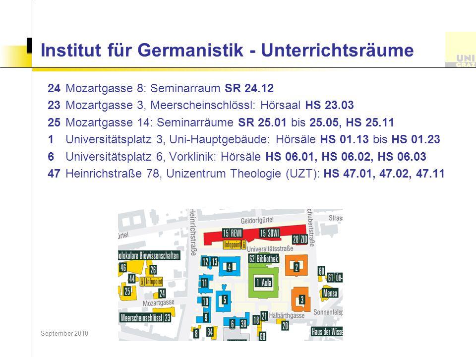Institut für Germanistik - Unterrichtsräume