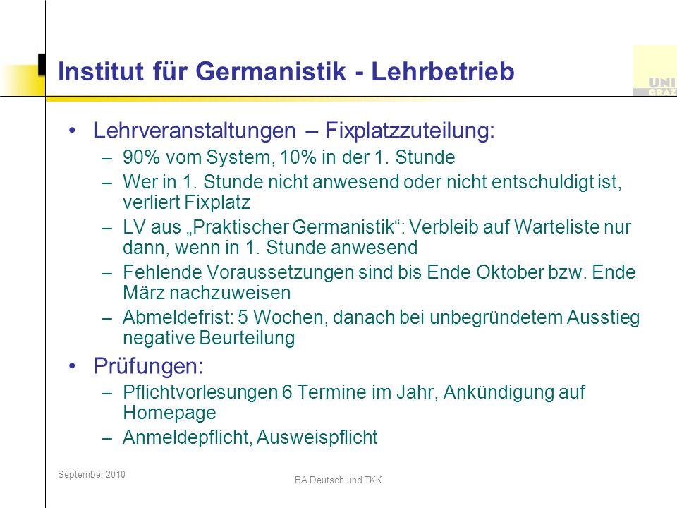 Institut für Germanistik - Lehrbetrieb