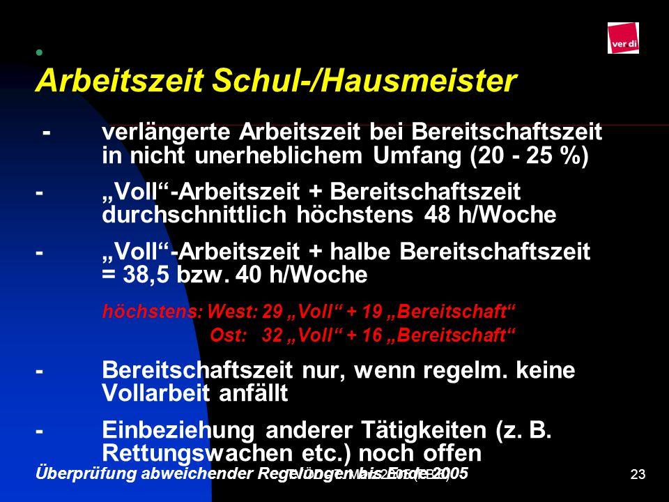 Arbeitszeit Schul-/Hausmeister -