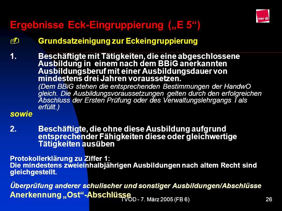 """Ergebnisse Eck-Eingruppierung (""""E 5 ) -"""