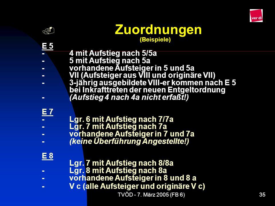 Zuordnungen. (Beispiele) E 5 -. 4 mit Aufstieg nach 5/5a -