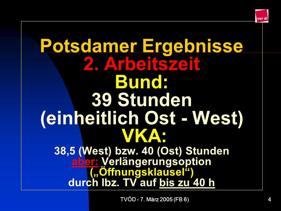 """Potsdamer Ergebnisse 2. Arbeitszeit Bund: 39 Stunden (einheitlich Ost - West) VKA: 38,5 (West) bzw. 40 (Ost) Stunden aber: Verlängerungsoption (""""Öffnungsklausel ) durch lbz. TV auf bis zu 40 h"""