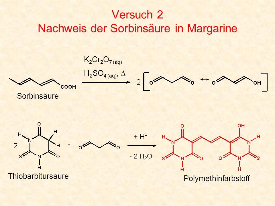 Versuch 2 Nachweis der Sorbinsäure in Margarine