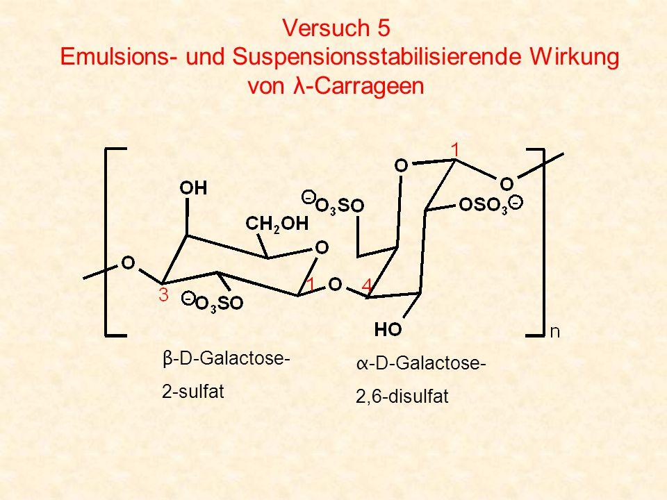 Versuch 5 Emulsions- und Suspensionsstabilisierende Wirkung von λ-Carrageen