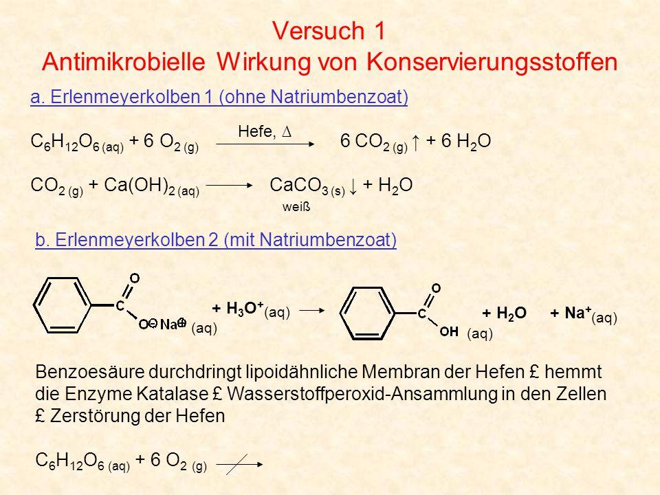 Versuch 1 Antimikrobielle Wirkung von Konservierungsstoffen